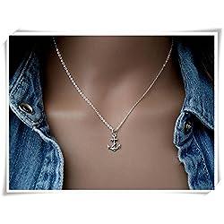 Plata de Ley Collar de ancla, cuerda Anchor collar, ancla colgante, collar de las mujeres