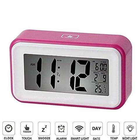 Greeney Digitale Wecker Uhren Mit Großes Bildschirm und Smart-Touch Control, Temperaturanzeige, Kalender, 24/12 Stunden-Umwandlung, Aufsteigende Alarm, Sensor-Hintergrundbeleuchtung, Praktische Snooze / Licht Funktion Ultra Lautlos