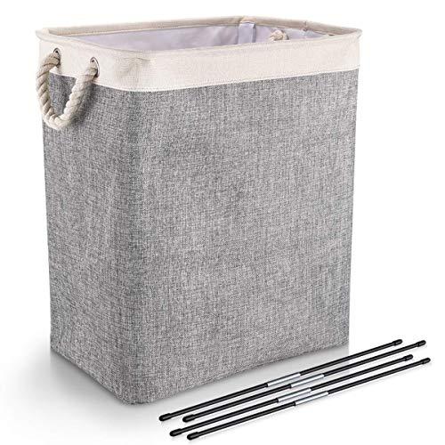 DYD Wäschekorb mit Griffen Leinen Großraumtrichter für Wäschekörbe Eingebautes Futter Haltbares Upgrade Faltbarer Wäschekorb für Spielzeug Kleidung Organisation (L-Grau)