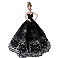 CreaTion\u00AE\x20Elegant\x20Beautiful\x20Embroidery\x20Design\x20Wedding\x20Evening\x20Party\x20Ball\x20Dress\x20for\x20Barbie\x20Doll\x2DBlack
