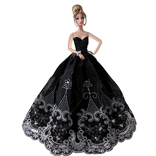 CreaTion Elegant Beautiful Embroidery Design Wedding Evening Party Ball Dress for Barbie Doll-Black