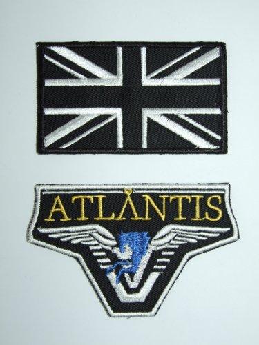 Badge-Set-Atlantis mit schwarzer und weißer Union-Jack-Flagge (Atlantis Kostüm)