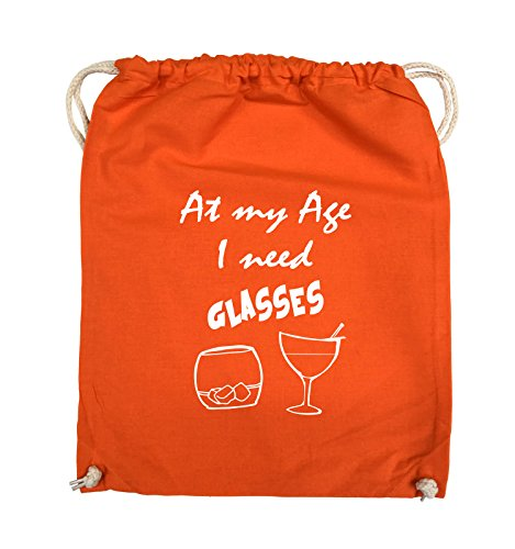 Comedy Bags - At my Age I need GLASSES - Turnbeutel - 37x46cm - Farbe: Schwarz / Pink Orange / Weiss