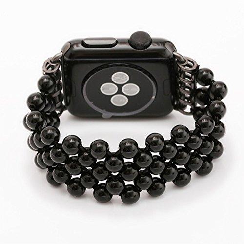 WETERS Iwatch Gurt Für Apple Watch Serie 4 Sport Version 40MM Schwarz Achat Elastischen Armband,Blackagatefivebeads