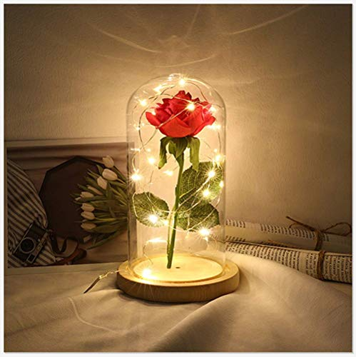 BOOMING Festival Geburtstagsgeschenk, Romantische Simulation Rose Glass Cover Led Micro...