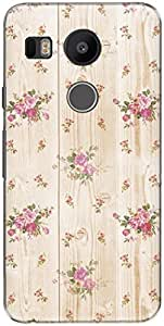 The Racoon Lean printed designer hard back mobile phone case cover for LG Nexus 5X. (White Flow)