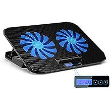 TekHome 2-Lüfter Cooling Pad, Gaming Cooler für Spielkonsolen und für Notebooks bis zu 15.6 Zoll, 5.5-Zoll Fan mit RPM 1500, LCD Windstärke 6, LED-Blaulicht, 5 Ebenenhöhen, 2 USB-Ports.(LTC003S)