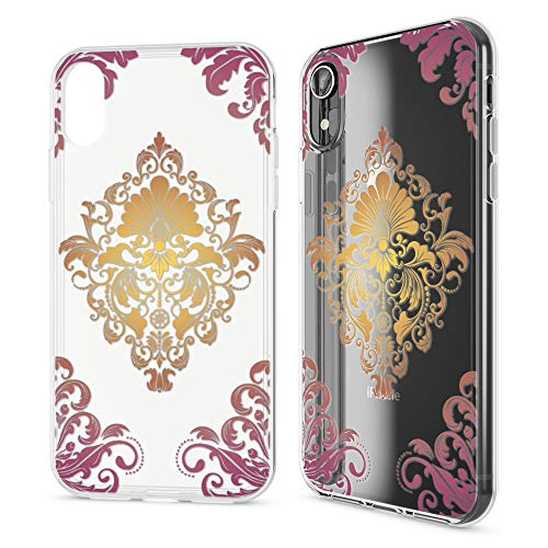 NALIA Hülle kompatibel mit iPhone XR, Silikon Case Cover Slim Motiv Clear Schutzhülle Dünn Durchsichtig, Etui Handytasche Backcover Transparent Handyhülle Bumper, Designs:Royal Ornament