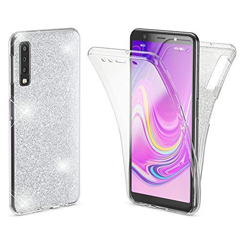 NALIA 360 Grad Hülle kompatibel mit Samsung Galaxy A7 2018, Glitter Handyhülle Full Cover vorne & hinten Doppel-Schutz, Dünnes Case Silikon, Transparenter Displayschutz & Rückseite, Farbe:Transparent -