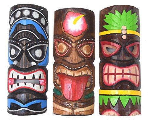 3-Tiki-Mscaras-30cm-IM-HAWAI-Estilo-Juego-de-3-Mscara-de-madera-Mscara-de-pared-ISLA-DE-PASCUA-Fidji