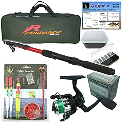 Junior beginners Fishing Kit Set. Novice Starter fishing set includes Rod & Reel, Tackle, Bait Box, Tackle Box & Storage Bag. Roddarch© Quality Brand from Roddarch