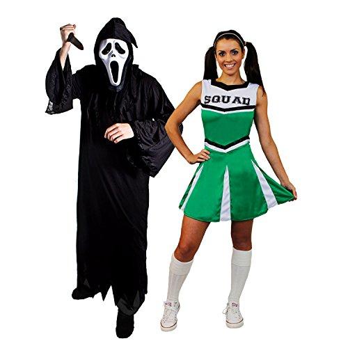 ILOVEFANCYDRESS Halloween Paar=GRÜNESCHEERLEADER+SCHREI/SENSENMANN=KOSTÜM VERKLEIDUNGEN=DAS Kleid HAT DIE Aufschrift Squad=Reaper+Maske + Messer= Reaper-SMALL + XSmall-Cheerleader