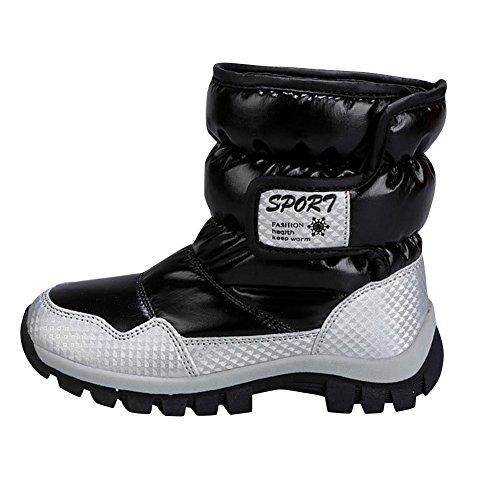 SaiDeng Enfants Garçons Filles Anti Dérapant Hiver Chaud Bottes Neige Chaussures Noir