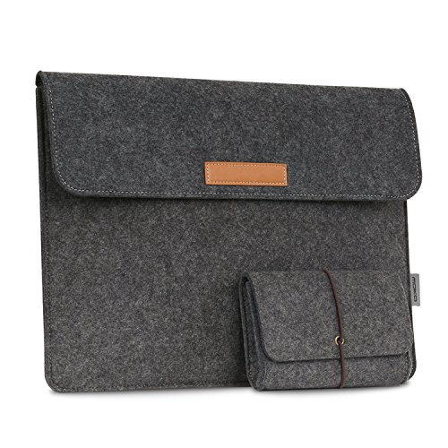 MoKo Surface Book 13.5 Zoll Filz Sleeve Hülle - Ultrabook Laptoptasche Notebooktasche Laptop Schutzhülle Tasche Laptophülle mit Karten-Slot / Kleine Filz Bag für Surface Book 13.5 Zoll, Dunkelgrau