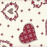 Tissu de coton imprimé | Tissu de Noël - écru avec coeurs et flocons de neige (rouge et taupe) | Largeur: 160cm (1 mètre)