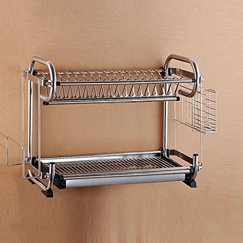 MOMO An der Wand befestigtes oder gesetztes Küche-Multifunktionsregal-Doppelt-Schichten Edelstahl-Teller-Regal / Abfluss-Regal / Abtropfgestell / Messer-Halter / Schalen-Regal,47 * 25 * 39 cm,Mit Mes -