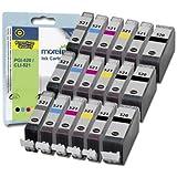 CLI-521 / PGI-520 - 18 Cartouches d'encre Compatibles pour Canon Pixma MP990 MP980 MX860 - Cyan / Magenta / Jaune / Noir / Grande Noir / Gris Avec Puce