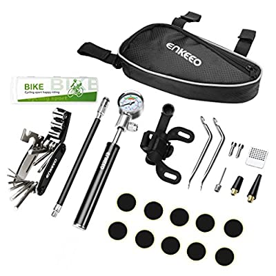 ENKEEO Bike Tyre Repair Kit with Mini Bike Pump with High Pressure Gauge 210 PSI,16-in-1 Bicycle Repair Tool,Metal Rasp and Pre-Glued Patches for Puncture Issue, etc. by ENKEEO