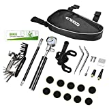 ENKEEO Bike Tyre Repair Kit with Mini Bike Pump with High Pressure Gauge 210 PSI,16-in-1 Bicycle Repair Tool,Metal Rasp and Pre-Glued Patches for Puncture Issue, etc.