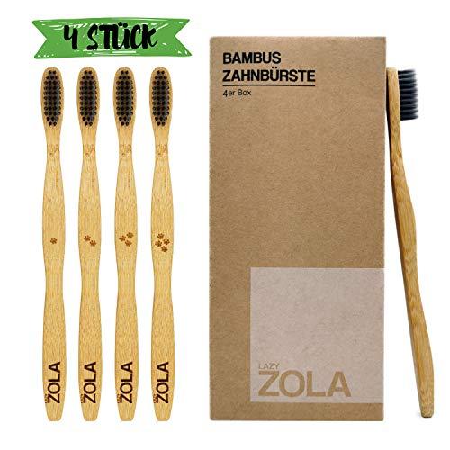 Lazy Zola   4er Pack   Nachhaltige und Umweltfreundliche Zahnbürste aus Bambus-Holz   Borsten mit Aktivkohle versetzt   angenehm weich   Biologisch abbaubar   vegan