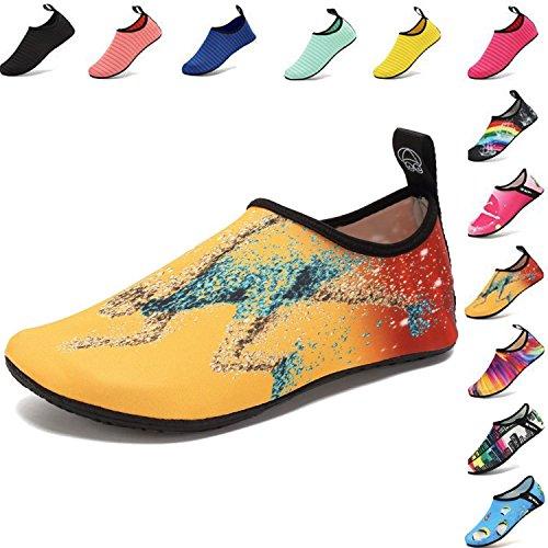 VIFUUR Wassersport Schuhe Barfuß Quick-Dry Aqua Yoga Socken Slip-On für Männer Frauen Kinder Läuft EU36/37 (Läuft Elasthan Sport-socken)