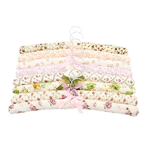 La Vogue 5PCS Flower Pattern Rural Style Bow Sponge Soft Coat Hangers 39*3cm Random Color by La Vogue Bow Print Silk Dress