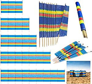FlickBuyz 4//5// 6//8// 10 EXTRA TALL POLE BEACH HOLIDAY CARAVAN CAMPING WINDBREAK TALL WINDBREAKERS COLOURFUL 20ft x 5ft