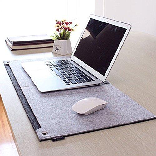 Multifunktionale Felt Schreibtisch Matte, SUNNIOR Laptop-Tastatur-Mausunterlage für Haus und Büro,Grau