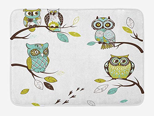 CHKWYN Owl Bath Mat, Birds of Woodlands Perching on Tree Branches Animals with Swirls and Flower Designs, Plush Bathroom Decor Mat with Non Slip Backing, 23.6 W X 15.7 W Inches, Multicolor -