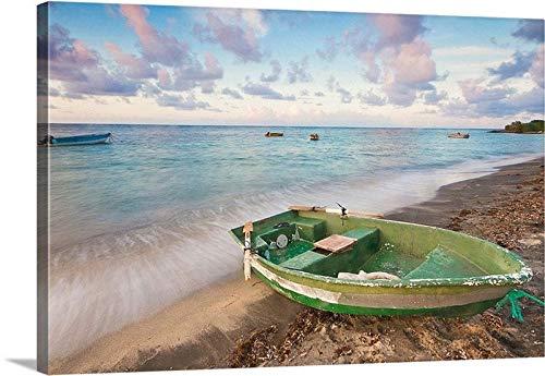 cwb2jcwb2jcwb2j Canvas Print Canvas Art Wrap Caribbean Fishing Boat St Kitts Nevis Tropical Art Coastal Beach Artwork Mint Green Beige Purple Bedroom Bathroom Decoration Wall Art Wall Decor (Mint Room Green Decor)