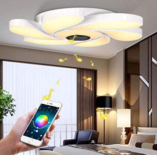 Modern LED Deckenleuchte Bluetooth-Lautsprecher Dimming Musik Blütenform Deckenlampe RGB-Home-Party-Licht mit APP-Fernbedienung Wohnzimmer Schlafzimmer Smart Home Deckenbeleuchtung D56cm*H10.5cm 72W