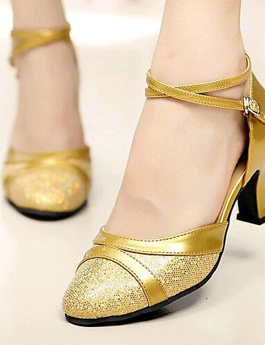 ShangYi Non Customizable Women's Dance Shoes Modern Paillette Chunky Heel Silver/Gold Gold