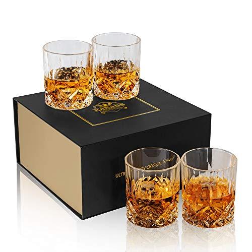 KANARS 4-teiliges Whisky Gläser Set, WG02 Bleifrei Kristall Whiskygläser, Spülmaschinentauglicher Whiskybecher, Hochwertige Qualität, 300ml, Luxus-Geschenkbox 4 Gläser