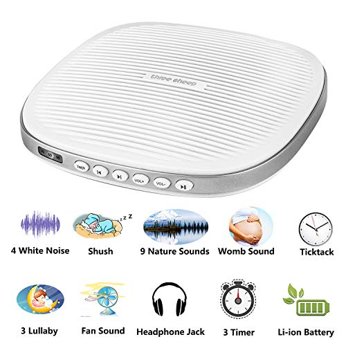 White Noise Machine, 20 Soothing Sleep Sound Machine with Headphone Jack, Sleep Timer, Sleep Sound Therapy System for Baby, Adult and Insomniac Sleep, Relax, Office and Travel (White)