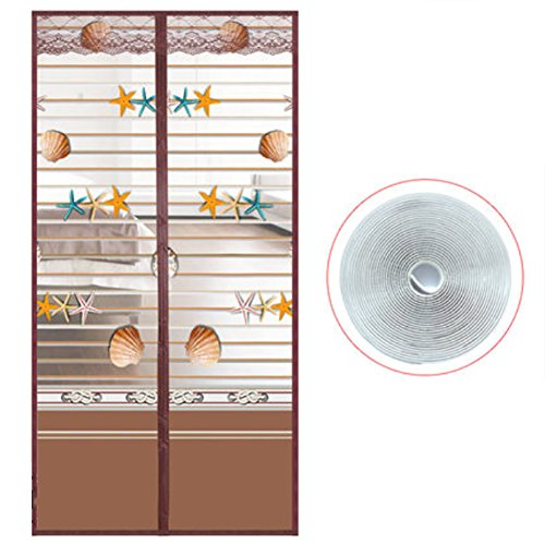 LJ&XJ Cortina de Malla de Puerta magnético Suave Velcro Anti-Mosquito,Cerrar Habitación de Verano automaticlly casa Cierre la Puerta de Pantalla-C 85x220cm(33x87inch)