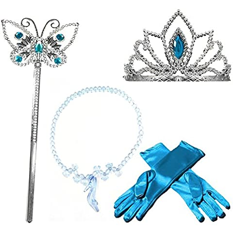 GenialES Disfraz Dress Up Princesa Accesorios Diadema Guantes Varita Mágica Collar Trenza para Cumpleaños Carnaval Fiesta Cosplay Halloween Niñas Talla
