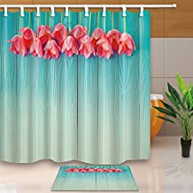 Watercolor Flowers Decor Red Flower Yellow Branches on Top of Blue Striped Wood Board 180X180CM Mildew Resistant Shower Curtain Suit With 60x40cm Flannel Non-Slip Floor Doormat Bath Rugs