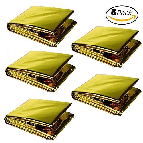 Tri-Elt Rettungsdecke Notfalldecken Rettungsfolie Gold/Silber Outdoor Folie Wärmedecke Erste Hilfe Decke Rettungssack 210 X 140 CM(5 Stück)