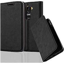 Cadorabo - Funda Book Style Cuero Sintético en Diseño Libro para > LG G2 MINI < – Etui Case Cover Carcasa Caja Protección con Imán Invisible en NEGRO-ANTRACITA