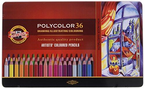 Polycolor 36er Farbstifte Zeichenstifte für Künstler von KOH-I-NOOR Set in Metall-Geschenkbox -...