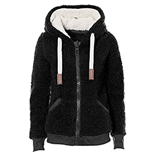 VILIER Ladies Womens Soft Teddy Fleece Hooded Jumper Hoody Jacket Coat Cream Taupe Black (S, Black)