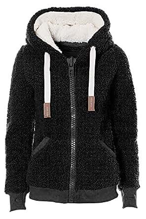 VILIER Ladies Womens Soft Teddy Fleece Hooded Jumper Hoody Jacket Coat Cream Taupe Black (S, Black)