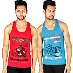 White Moon Cotton Printed Gym vest 2000 (M) Pack of 2