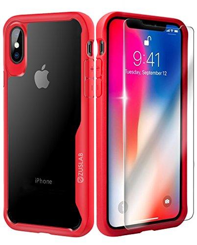 iPhone X Cover ZUSLAB [Armatura Chiara] Custodia duro rigida trasparente con Paraurti antiurto silicone TPU, Custodia ibrida con protezione dello schermo in vetro, Ultra-sottile, Copertura protettiva  Rosso