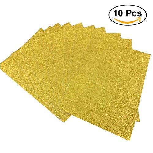 ULTNICE 10pcs Glitter Cardstock Papier Schein A4 Karte für Diy Craftwork - Cardstock Gold-glitter