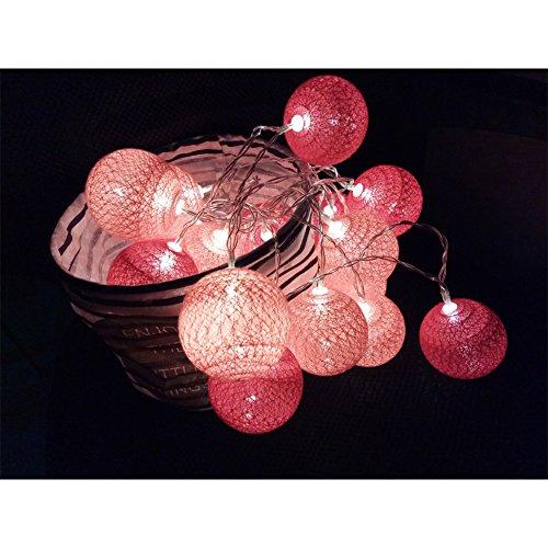 LED Lichterkette mit Kugeln, Morbuy 6CM Baumwollkugeln Mit Bällen Deko Licht Festlich Hochzeiten Geburtstag Party Cotton Ball Themen Weihnachten Lichterkette Dekorative (1.8m / 10 Lichter, Rot Rosa)