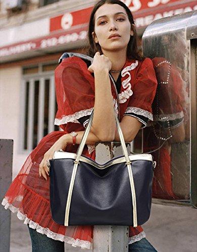 NICOLE&DORIS Mode Damen Handtaschen Tote Umhängetasche Schultertaschen Henkeltaschen Messenger Bag Groß Tasche Crossbody Bag Wasserdicht Dauerhaft PU Blau Blau