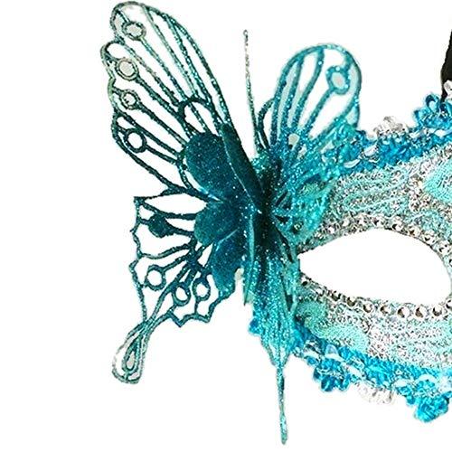 NaiCasy Damenmode Sexy Spitze venezianischer Masken-Maskerade-Masken-halbe Gesichts-Augenmaske mit 3D-Schmetterlinge Blau, Frauen Schmuck (Venezianische Maske Schmetterling)