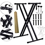 Techtest 54 61 76 88 Key Electronic Piano Stand X-Type Double Pipe Iron Rack Universal Keyboard Instrument Accessories Double-Braced X-Style Stand, Adjustable Piano Keyboard Stand with Locking Straps