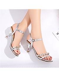 2018 version coréenne de l'été des nouvelles sandales à talons hauts épais avec une boucle de mot ouvert des sandales de mode fe hYlNPO